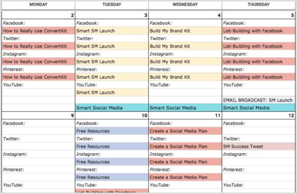 social media calendar add content