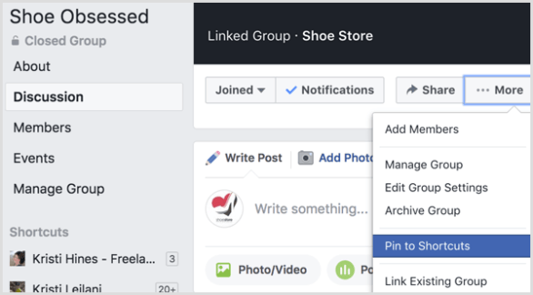 Facebook add group to shortcuts