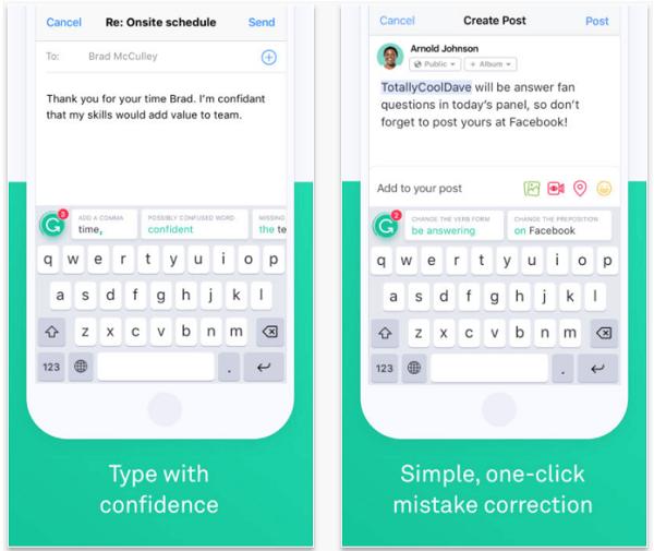 Instale o aplicativo Grammarly Keyboard para soletrar e gramática verificar suas mensagens no celular.