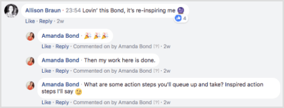 Facebook post comments encourage conversation to boost engagement