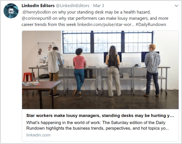 A tweet of daily articles from the LinkedIn Editors Twitter feed
