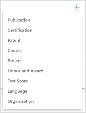 The options for adding an accomplishment to a LinkedIn profile