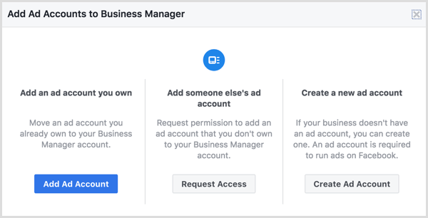 Ajoutez un compte d'annonce existant ou créez-en un nouveau.