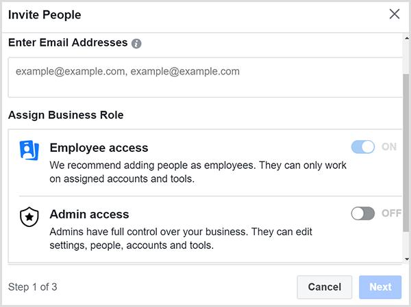 Indiquez si vous souhaitez accorder l'accès employé ou l'accès administrateur.