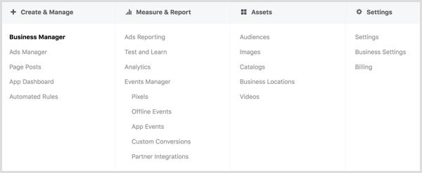 Explorez les options du menu Facebook Ads Manager.