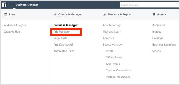Sélectionnez Gestionnaire de publicités dans le menu Gestionnaire d'entreprise Facebook.