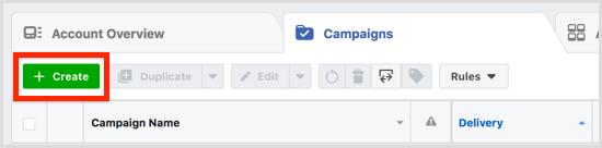 Cliquez sur Créer dans l'onglet Campagnes.