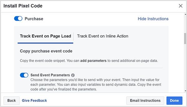Copiez le code d'événement d'achat.