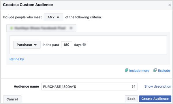 Choosing options to create a Facebook custom audience of buyers in the past 180 days