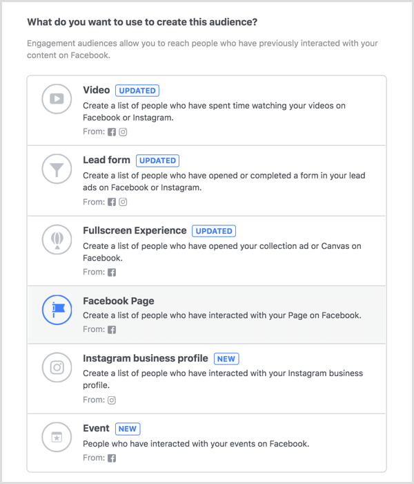 Select Facebook Page option to create a engagement custom audience