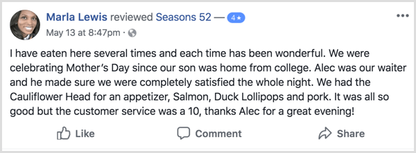example of Facebook restaurant review