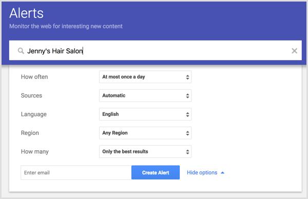 set up alert with Google Alerts