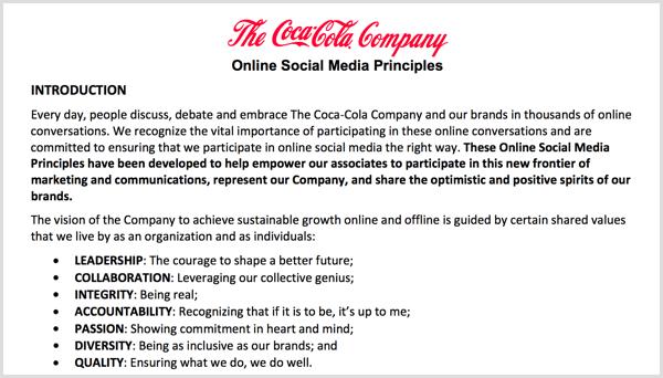 social media policy example