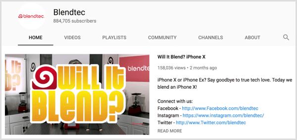 YouTube featured video description