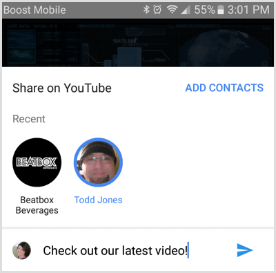 Select contact to share YouTube video with