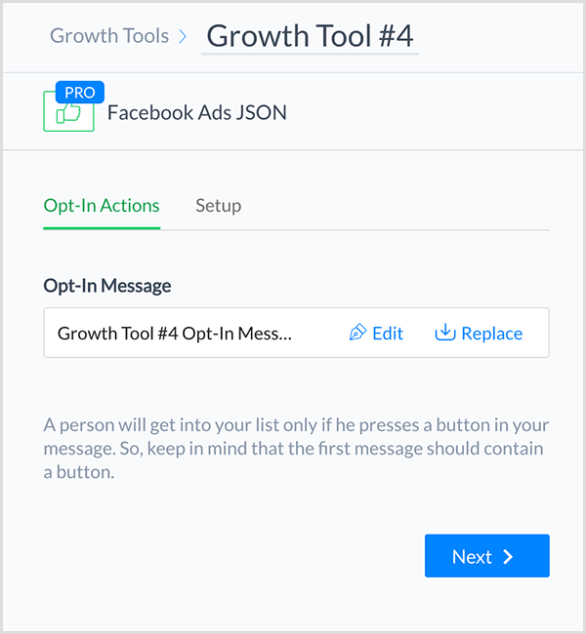 Molly Pittman says the ManyChat Facebook Ads JSON Growth Tool lets you connect a Facebook ad to your chatbot.