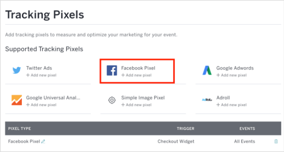 In Eventbrite, click Facebook Pixel and enter your pixel ID and other details.