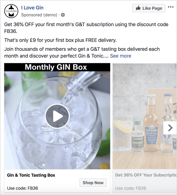 This carousel ad format positions a discount offer on a monthly subscription box.