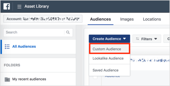 In the Audiences section of Business Manager, click Create Audience and select Custom Audience from the drop-down menu.