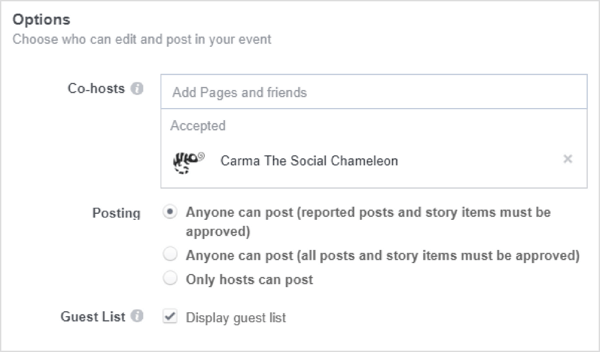 ALTTo add co-hosts profiles individually, you must be friends with the person, or you can add pages.