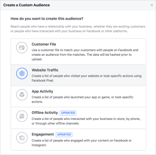 Create a Facebook custom audience based on website traffic
