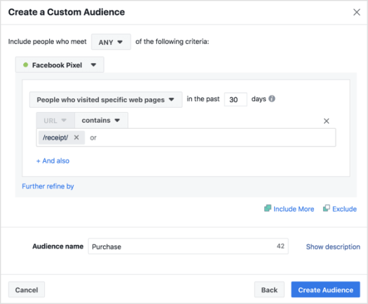 In the audience creation window, set the parameters of your audience based on website activity including pages viewed and time on page.
