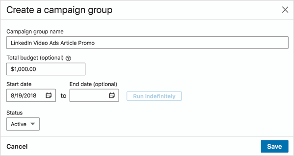In the Create a Campaign Group pop-up box, add a group name, set a budget, and choose a start date.