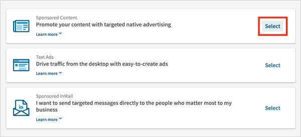 On the Choose an Ad Product page, click the Select link for Sponsored Content.