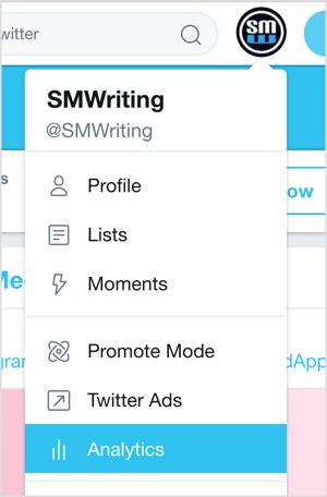 Klik op uw Twitter-profielafbeelding en selecteer Analytics in het vervolgkeuzemenu.