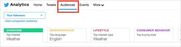 Als u meer informatie wilt over uw Twitter-doelgroep, klikt u op het tabblad Doelgroepen boven aan de pagina.