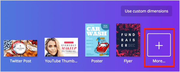 After you log in to Canva, click the More button in the upper-right corner of the screen.
