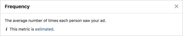 Maggiore è la frequenza delle tue inserzioni su Facebook, più persone vedranno un particolare annuncio su Facebook.