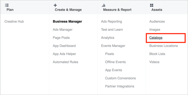 To access the Catalog Manager, open Business Manager and select Catalogs.
