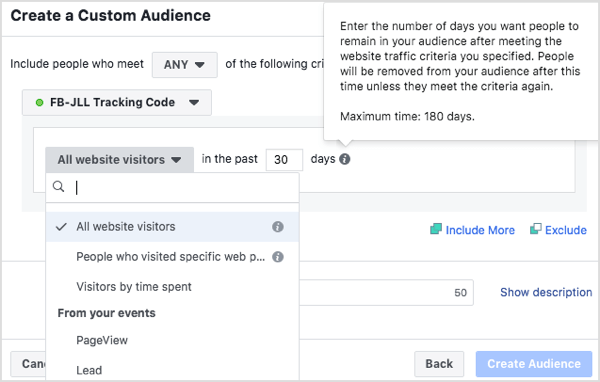 Create custom audiences of people who have visited your website in the last 30 days, 60 days, 90 days, and 180 days.