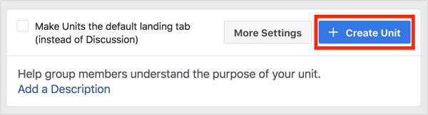 Open the Units tab for your Facebook group and click Create Unit.