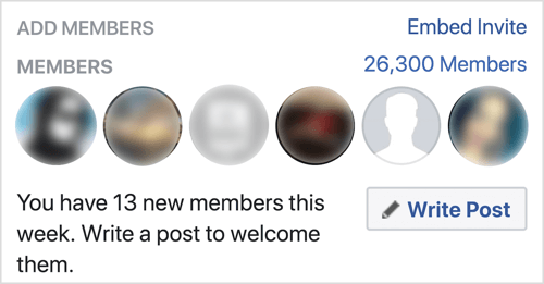 Click Write Post to welcome new Facebook group members.