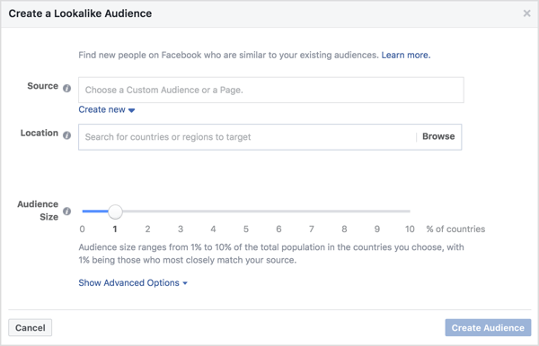 In the Create a Lookalike Audience window, select your website custom audience, a location, and an audience size.