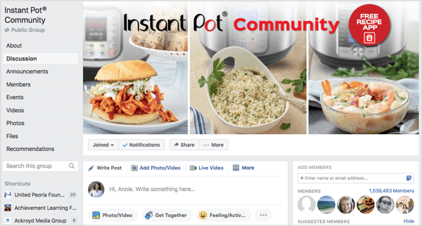Instant Pot Community Facebook group of more than a million members.