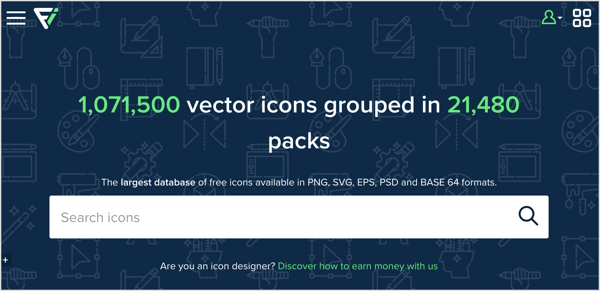 Flaticon has a searchable library of hundreds of thousands of icons