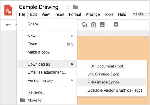 Choose File > Download As > PNG Image (.png) to download your Google Drawings design.