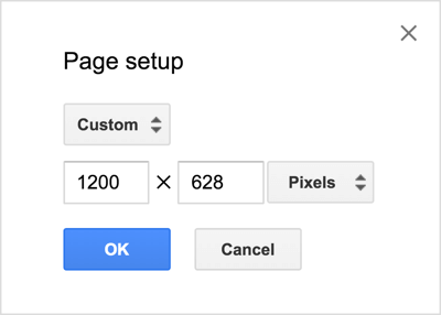 In this example, the Google Drawings area is sized 1200 x 628 pixels for a single-image Facebook news feed ad.