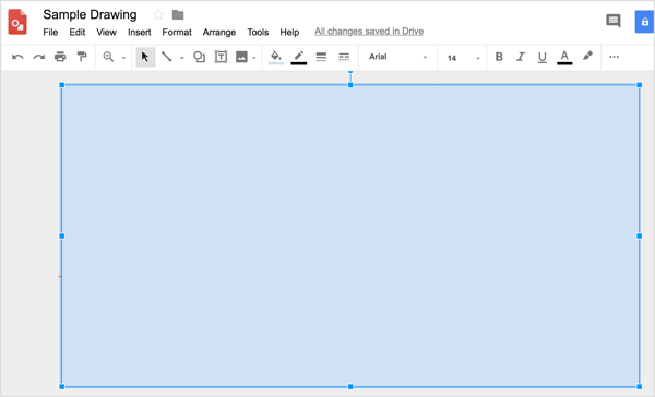 Use the rectangular shape tool to draw a rectangle that covers the whole Google Drawings canvas.
