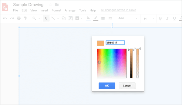 Paste the color code into the appropriate box.