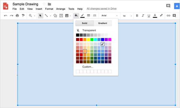 To apply a custom color to your shape, click the Fill Color tool and select Custom.