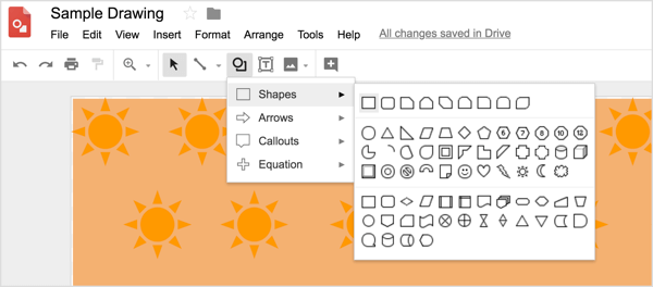 Select a shape tool and then draw the shape on your Google Drawings design.