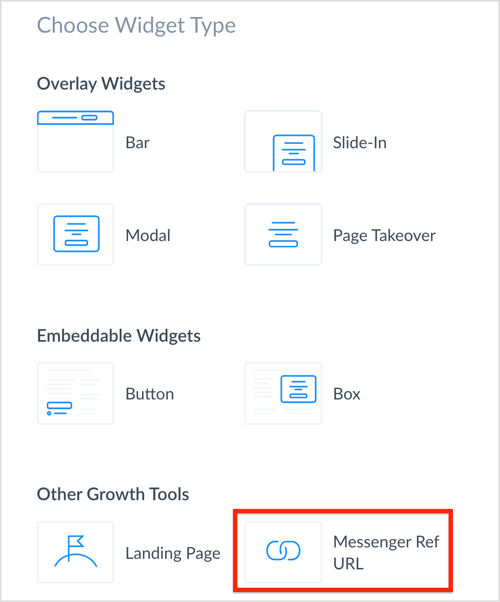 Select the Messenger Ref URL growth tool in ManyChat.