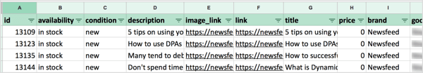 To create a product feed of your blog posts, create a new spreadsheet and add these required columns: