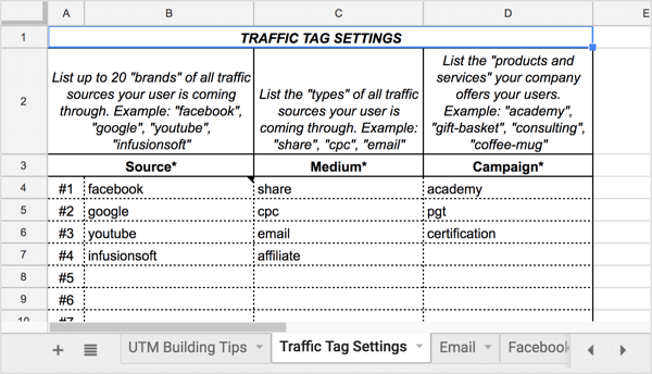 Open the Traffic Tag Settings tab to set up your core traffic tag settings.