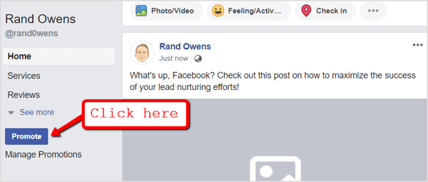 Head to your Facebook page and click the Promote button below the navigation tabs.
