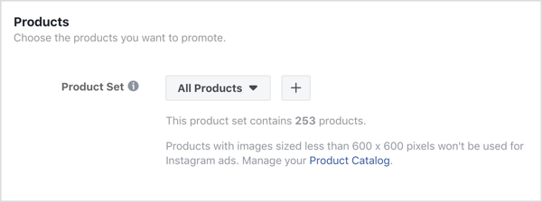 Click on the + sign in the Products section at the ad level of your Facebook campaign.